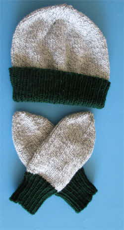 ragg-hat-and-mitts-hunter-green-cuff