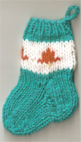 Hand Knit Mini Stocking-Christmas Bell