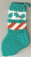 Hand Knit Mini Stocking-Christmas Holly