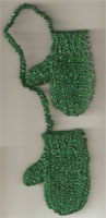 Hand Made Mini Mitts-Green/Sparkle