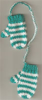 Hand Knit Mini Mitts-Light Green/ Stripe