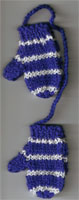 Hand Knit Mini Mitts-Royal/White Sparkle/Stripe