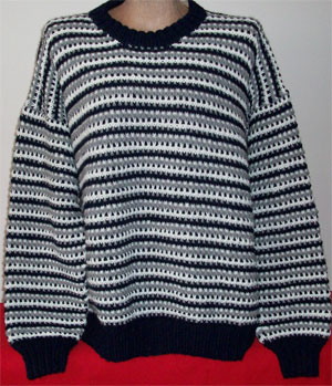 hand knit rugged striped pattern crew neck pullover