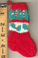 Hand Made Mini Stocking- Candy Cane & Holly