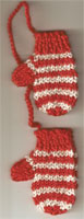 Hand Knit Mini Mitts-Red/Ecru Sparkle