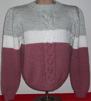 hand knit  3 tone cable pullover