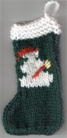 Hand Knit Mini Stocking-Snowman
