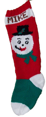 hand knit  snowman christmas stocking