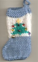 Hand Knit Mini Christmas Tree Stocking